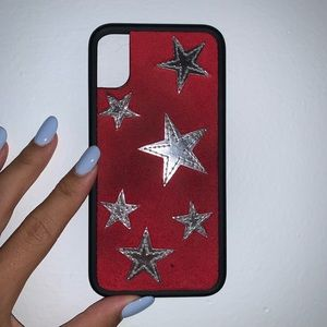 wildflower red case with silver stars